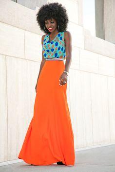 Polka Dot Cowl Neck x Embellished Skirt
