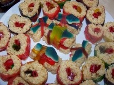 Candy sushi is an awesome twist on a classic snack. It's great for parties - I even made some for a friend's wedding! It was the hit of the party...