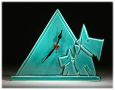 Deco British Art Pottery Turquoise Crackle Scottie Dog Little & Large Mantle Clock