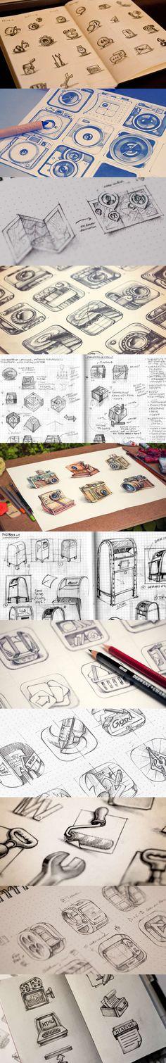 Inspiring icon sketches found on Speckboy. http://speckyboy.com/2013/09/18/icon-sketching/ #Icon #Illustration