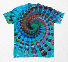 Turquoise Blue Colors Tie Dye Super Pleated Spiral Ice Dye Tshirt   Size M by OtdelMaljaraTieDye on Etsy