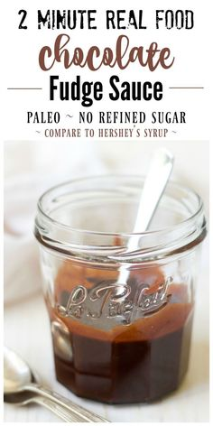 This Real Food Chocolate Fudge Sauce is so easy to make plus it's unbelievably delicious. Silky and rich, this heavenly chocolate fudge sauce is so much healthier than the store-bought stuff, and only takes 2 minutes to make! | Recipes to Nourish // Paleo