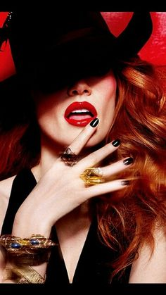 Rich Red Lips & Black Nails ♥+ gorgeous Red Hair ★ ★
