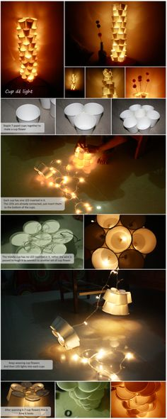 how to make cool DIY cup tower lamps with recycled paper cups step by step tutorial instructions