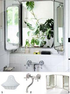 Idée de déco d'une salle de bain au look rétro avec un miroir de barbier  http://www.homelisty.com/idees-originales-salle-de-bains/