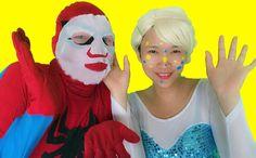 Spiderman vs Frozen Elsa Face Style  Joker Fun Superheroes movie in real...