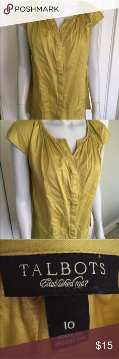 Chartreuse Talbots cap-sleeve blouse 👚 I love this too but reposhing because it is too big for me. I'd say Talbots sizing is generous. Super light- weight 100% cotton with covered buttons and the slightest sheen for a very finished look- with jeans or under a blazer. EUC! Talbots Tops Blouses