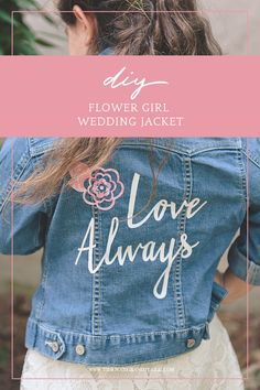 How to make an easy DIY wedding jean jacket with Cricut Easypress and patterned heat transfer vinyl iron-on Cricut Heat Transfer Vinyl, Cricut Iron On Vinyl, Cricut Htv, Patterned Heat Transfer Vinyl, Jean Jacket For Girls, Jean Jacket Outfits, Diy Wedding Jacket, Creative Wedding Inspiration, Easy Diy