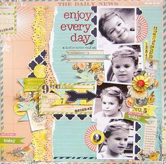 #papercraft #scrapbook #layout  Daily Junque collection from Pink Paislee