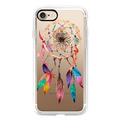 Native American Watercolor Beads and Jewels Boho Feather Dream Catcher... ($40) ❤ liked on Polyvore featuring accessories, tech accessories, iphone case, iphone cases, jeweled iphone cases, apple iphone cases, iphone hard case and iphone cover case