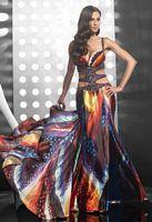 Size 6 Multi Print Jasz Couture Open Sides Evening Dress 4109