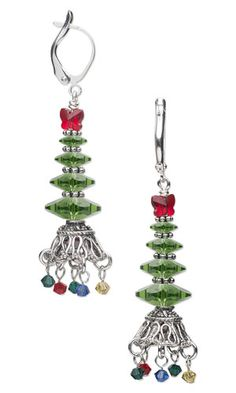 Christmas Tree Earrings with SWAROVSKI ELEMENTS, Antiqued Sterling Silver Beads and Bead Caps