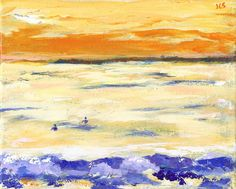 Original Impressionistic Painting California Ocean Sunset Nature. $40.00, via Etsy. Find this and other original acyrlic water and ink artwork for sale at jcstrong.etsy.com.