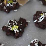 Paleo-Chocolate-Pistachio:   Enjoy Life Chocolate Chips, Coconut Extract, Pistachios, Unsweetened Flake Coconut.