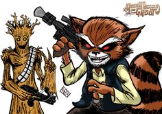 colors over solo racoon(? and chewgroot