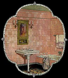 """The Period Installations shown are from our collection of old tile manufacturer catalogs from the 1910's - 1920's. As you can see, there were some very creative and colorful baths and kitchens. Not every """"sanitary"""" room was tiled with plain, white, """"subway"""" tile. So get creative. Classic 20's Bath  Historic tile installation (c.1920's)  using 6x6 and 3x6 field tile with custom solid and patterned tile base, liners and molded trim."""