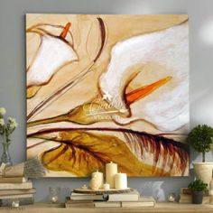 Flores Alcatraces Blancos - Cuadros Decorativos Al Óleo