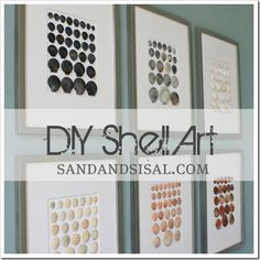 if you have collected shells from your past vacations, consider sorting them by color and size and then hot gluing them inside inexpensive frames to create your own color blocked DIY Shell Art.