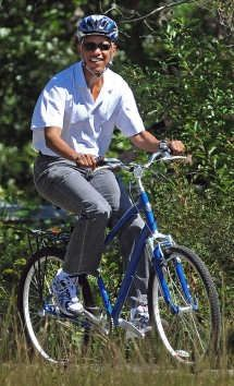 Obama on a bycicle