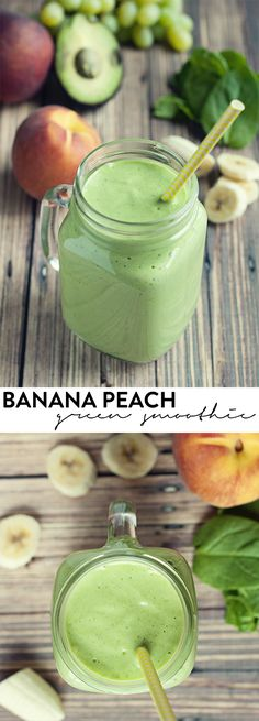 Green smoothies don't have to be gross, and this banana peach green smoothie will have you wanting more! asimplepantry.com