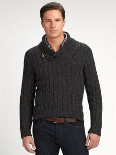 Polo Ralph Lauren shawl collar Sweater | Polo Ralph Lauren Donnegal Shawl Collar Sweater in Gray for Men ...