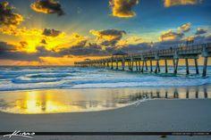 Sun Reflection of Beach Juno Beach Pier Sunrise Florida