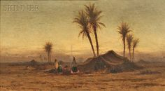 """""""Bedouin Encampment,"""" R. Swain Gifford, 1878, oil on canvas, 10 1/4 x 18 1/4"""", private collection."""