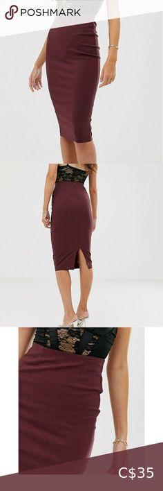 ASOS DESIGN Burgundy Highwaist Longline Skirt Brand new without tags. I have the same one in black and i wear it all the time! It's really comfy and shapes to you nicely. Has a little bit of stretch. Size 10, but could probably fit 8-12. ASOS Skirts