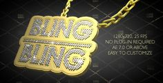 Hip-Hop Style Bling-Bling 3D Pendant on Chain
