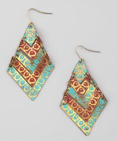 Turquoise & Coral Chevron Drop Earrings
