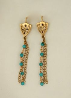 Turquoise tassel and shield earrings by ExVoto Vintage Jewelry