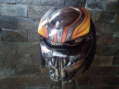 AWESOME ORANGE PREDATOR HELMET MOTORCYCLE STYLE  DOT   SIZE  M, L, XL