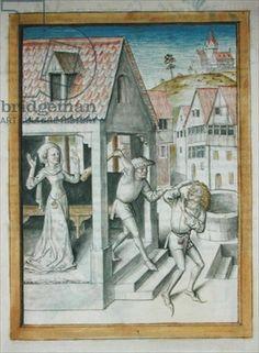 Chantilly Ms 680/1389 f.? Antonius von Pforr, Buch der Beispiele, vermutlich für Graf Eberhart im Bart verfasst. Der Zeichner ist möglicherweise identisch mit dem des Fechtbuches von 1467 von Hans Thalhofer.