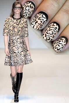 ManicureMuse Gucci Fall 14 - a gorgeous black & nude print ideal for #AW14...x