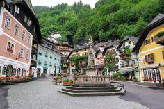 the beautiful market square in hallstatt