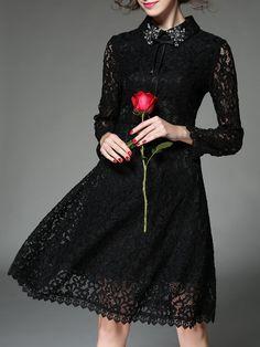Beaded Pierced Lace Midi Dress