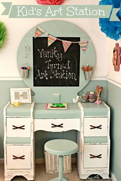 Kid's Art Station from a Roadside Vanity at www.mom4real.com @Jessica Kielman         {Mom 4 Real}