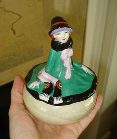 Antique Japanese Luster Lustreware Art Deco Lady Figure Trinket Box Trico China | eBay