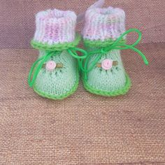 Check out this item in my Etsy shop https://www.etsy.com/listing/498169504/green-and-pink-baby-booties-handmade