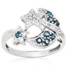 Women's Fashion Jewelry Joolwe 10k White Gold 0.35 cttw. Sapphire Moon and Stars Ring