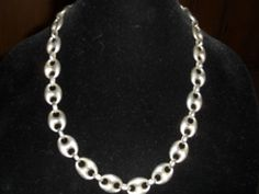 "Vintage Mexico Sterling Silver Modernist Cable Chain Link Necklace 77g 25"" long"