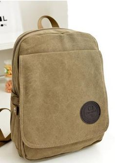Women's pure color canvas vertical backpack