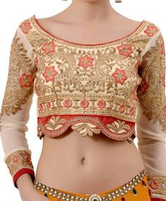 Cream Designer Wedding Wear Full Sleeves #Blouse Full Sleeves Blouse Designs, Indian Blouse, Wedding Wear, Halter Neck, Wedding Designs, Lehenga, Crop Tops, Cream, How To Wear