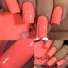 Coral Acrylic Nails, Neon Coral Nails, Coral Nails With Design, Peach Colored Nails, Peach Nails, Square Acrylic Nails, Orange Nails, Best Acrylic Nails, Square Nails
