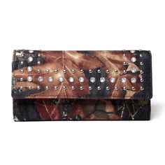 Mossy Oak Rhinestone Studded Camouflage Checkbook Wallet with Red Interior