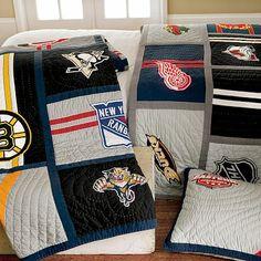 NHL Western Quilt + Sham- must have for my lil guy Hockey Stuff, Hockey Mom, Boy Room, Kids Room, Western Quilts, Hockey Bedroom, Hockey Decor, Hockey Party, Pottery Barn Teen