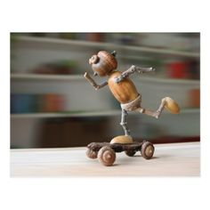 I need to make this for my grandson Alex. Acorn elf riding the skateboard postcard -nature diy customize sprecial design Nature Crafts, Fall Crafts, Diy And Crafts, Crafts For Kids, Arts And Crafts, Acorn Crafts, Pine Cone Crafts, Wood Crafts, Diy Wood