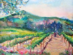 "Cathedral Ridge Vineyard, Hood River, Oregon by Kathy Delumpa Allegri ...   22x15"", watercolor, unframed"