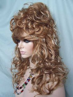 Julienne Bee Hive Drag Wig, Highlighted Strawberry Blonde with Pale Blonde