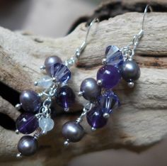 Stunning purple cluster earrings, handmade by Bethany Rose Designs. See more handcrafted jewelry at www.BethanyRoseDesigns.etsy.com